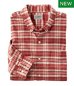 Men's Washed Oxford Long Sleeve, Traditional Fit, Plaid Tall